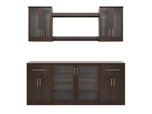 "NewAge Home Bar Espresso 8 Piece Cabinet Set - 21"""