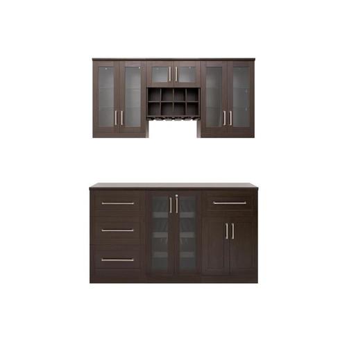 "NewAge Home Bar Espresso 7 Piece Cabinet Set- 21"""
