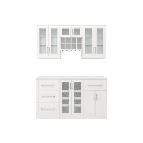NewAge Home Bar White 7 Piece Cabinet Set-  21""