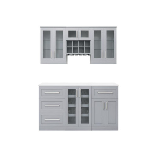 "NewAge Home Bar Grey 7 Piece Cabinet Set-  21"""