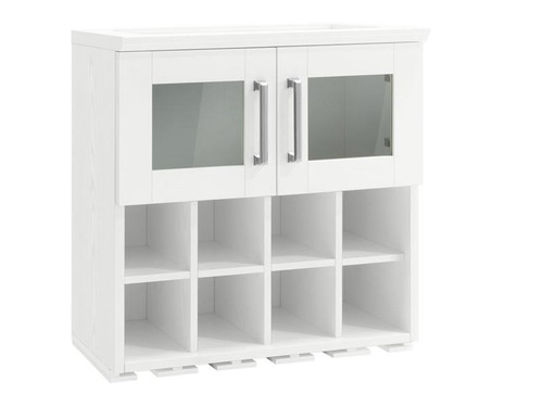 NewAge Home Bar White Wall Wine Rack Cabinet - 21