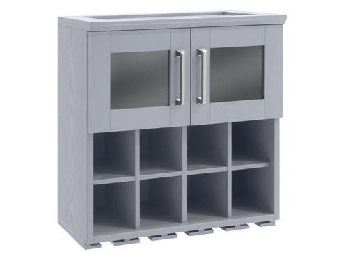NewAge Home Bar Grey Wall Wine Rack Cabinet - 21