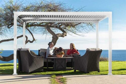 Paragon Outdoor Novara 10x12 Pergola with Louvered Canopy - White