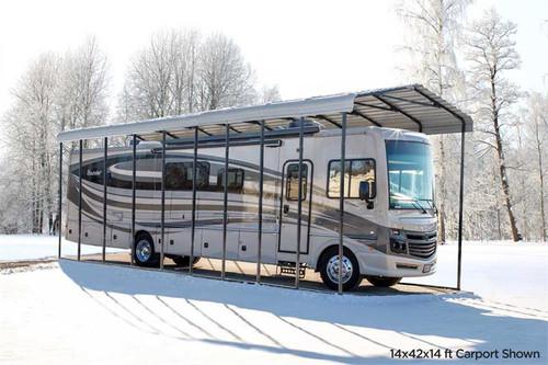 Arrow RV Carport, 14 x 47 x 14 - Eggshell