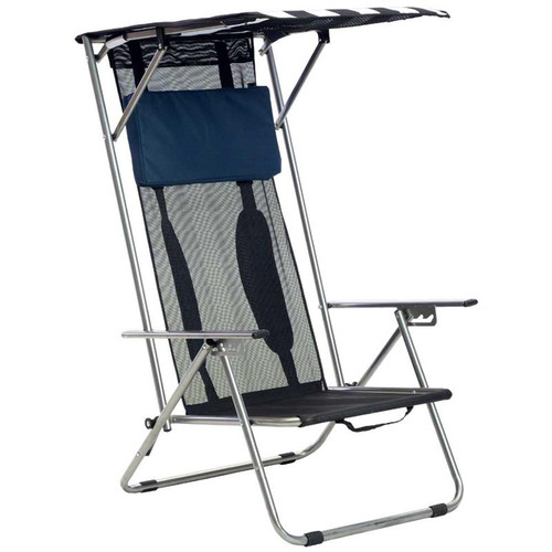 Quik Chair Beach Recliner Shade Folding Chair - Navy/White