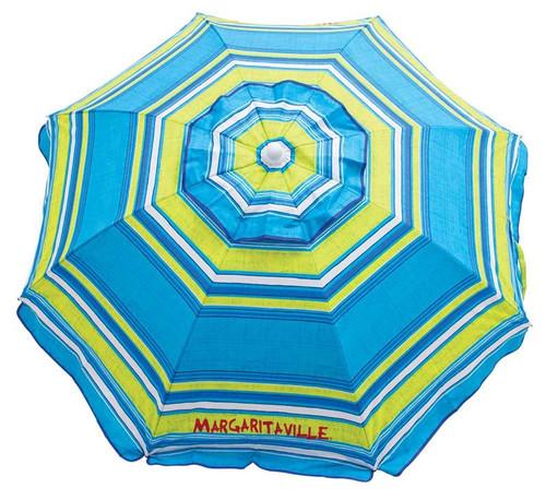 Margaritaville 6' Beach Umbrella with Built-In Sand Anchor - Blue Green Stripe