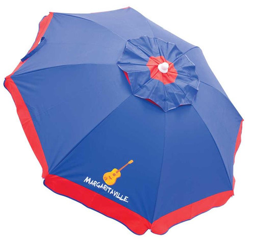 Margaritaville 6' Beach Umbrella with Built-In Sand Anchor - Blue with Red Border
