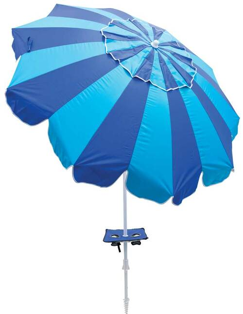 Rio Beach 7 ft. Umbrella with Integrated Sand Anchor - Blue Stripes