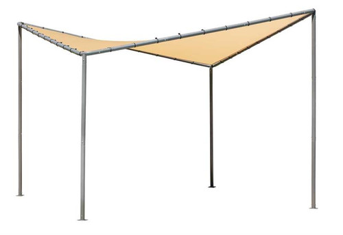 ShelterLogic 10x10 Del Ray Gazebo Canopy Charcoal Frame Tan Cover