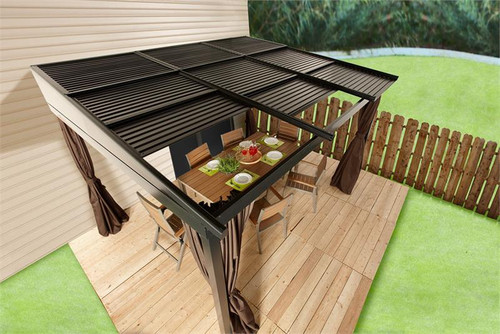 Sojag Francfort 10x12 Wall-Mounted Gazebo with Retractable Roof, Mosquito Netting, Privacy Curtains