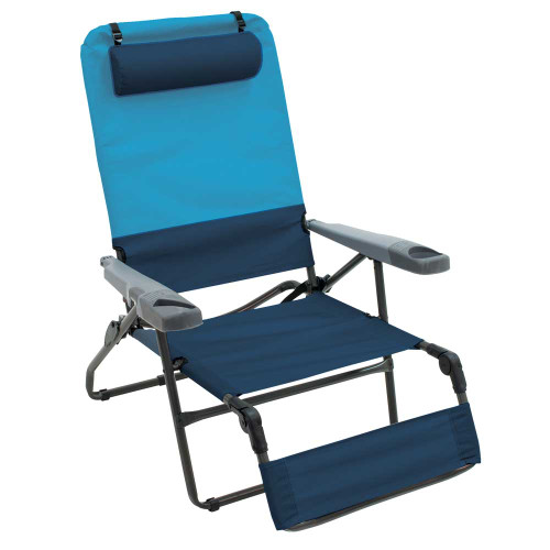 RIO Gear 4-Position Ottoman Lounger - Blue Sky/Navy