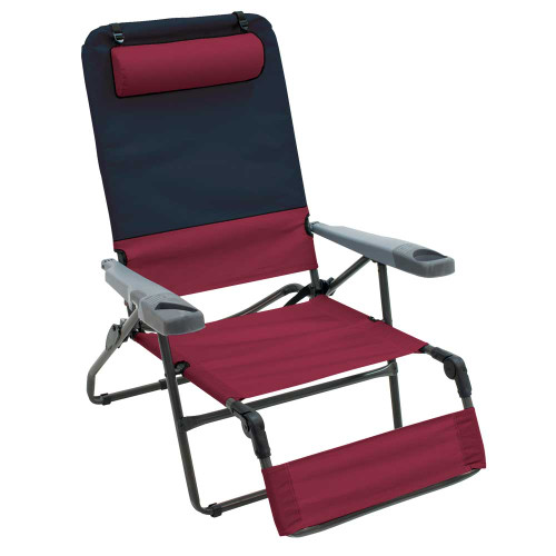 RIO Gear 4-Position Ottoman Lounger - Charcoal/Oxblood