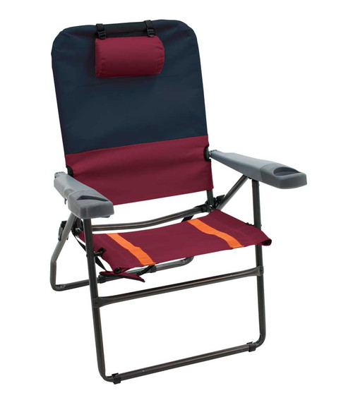 RIO Gear 4-Position Aluminum 17 in. Chair - Charcoal/Oxblood