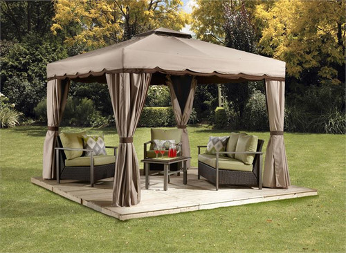 Sojag Roma 10x10 Soft Top Gazebo with Mosquito Netting, Privacy Curtains