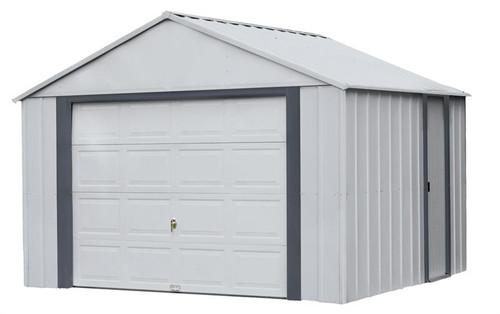 Arrow Murryhill 12 x 10 Garage, Steel Storage Building, Prefab Storage Shed/Flute Gray