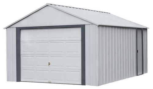 Arrow Murryhill 12 x 17 Garage, Steel Storage Building, Prefab Storage Shed/Flute Gray