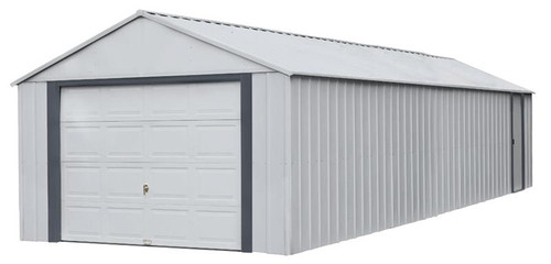 Arrow Murryhill 12 x 31 Garage, Steel Storage Building, Prefab Storage Shed/Flute Gray