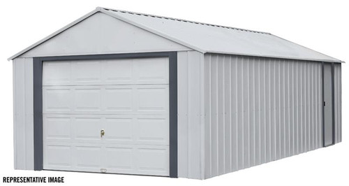 Arrow Murryhill 14 x 21 Garage, Steel Storage Building, Prefab Storage Shed/Flute Gray