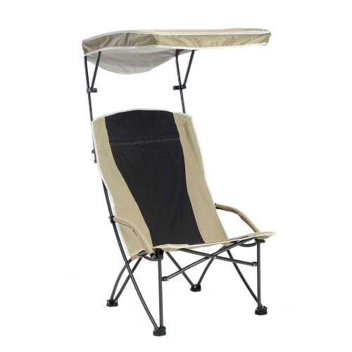 Quik Chair Pro Comfort High Back Shade Folding Chair - Tan/Black