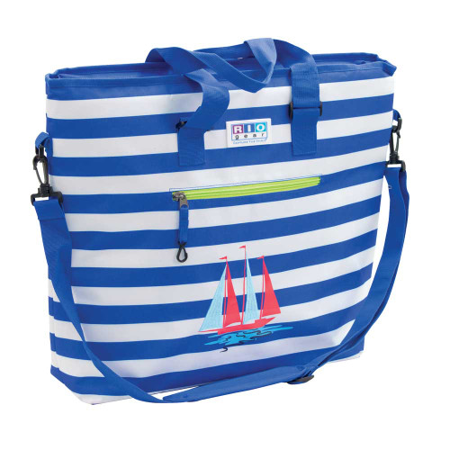 RIO Gear Deluxe Insulated Tote Bag with Bottle Opener - Blue Stripe