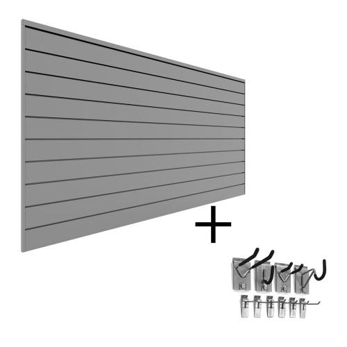 Proslat PVC Slatwall Mini Bundle - Light Gray