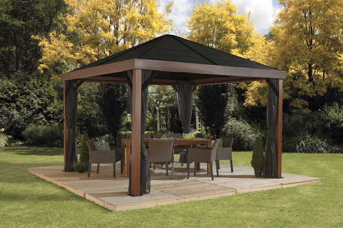 Sojag Valencia Gazebo Wood Finish 12 x 12 ft. with Mosquito Netting