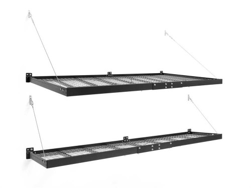 NewAge Pro Series 4 ft. x 8 ft. and 2 ft. x 8 ft. Wall Mounted Steel Shelf Set - Black