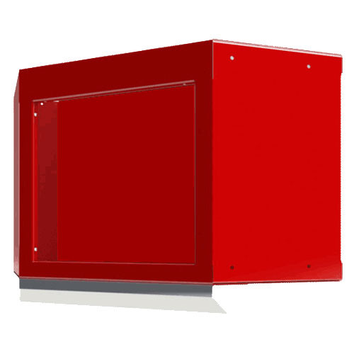Moduline Select Series Aluminum Open Face Corner Cabinet With Light Shield - Red