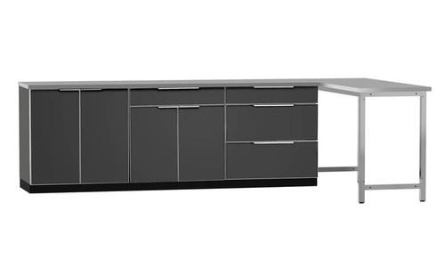 "NewAge Aluminum Slate 184""W x 24""D Outdoor Kitchen Set w/Countertops"