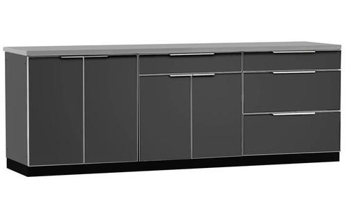 "NewAge Aluminum Slate 96""W x 24""D Outdoor Kitchen Set w/Countertop"
