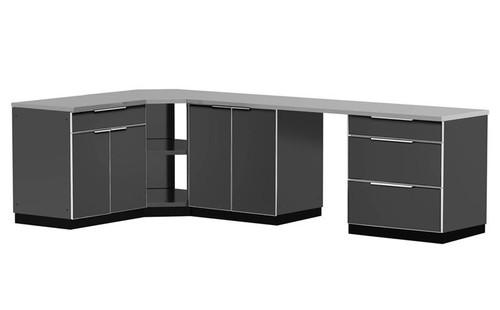 "NewAge Aluminum Slate 184""W x 24""D Outdoor Kitchen Combo w/Countertops"