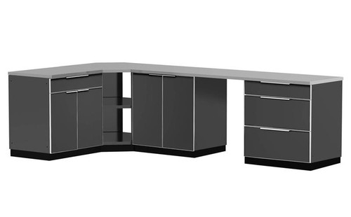 """NewAge Aluminum Slate 184""""W x 24""""D Outdoor Kitchen Combo w/Countertops & Covers"""