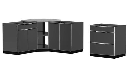 "NewAge Aluminum Slate 184""W x 24""D Outdoor Kitchen Combo"