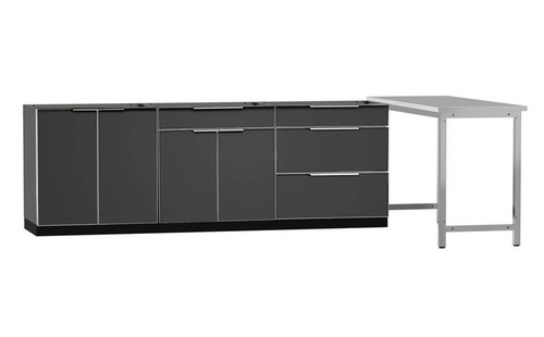 "NewAge Aluminum Slate 184""W x 24""D Outdoor Kitchen Set"