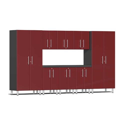 Ulti-MATE Garage 2.0 Series Red Metallic 9 PC Kit with Worktop