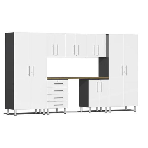 Ulti-MATE Garage 2.0 Series White Metallic 8-Piece Kit with Bamboo Worktop