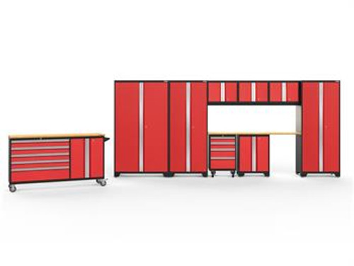 NewAge Bold 3.0 Red 10 PC Set w/Bamboo Worktops & LED Lights