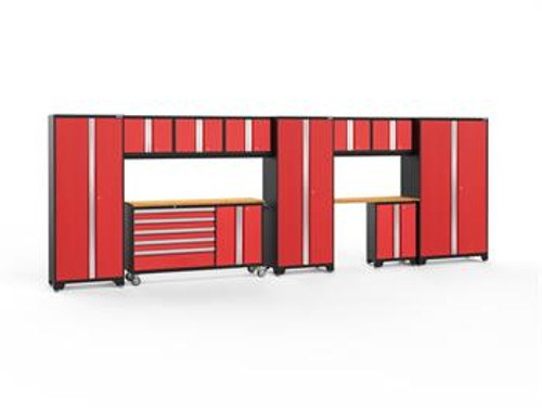 NewAge Bold 3.0 Red 11 PC Set w/Bamboo Worktops & LED Lights