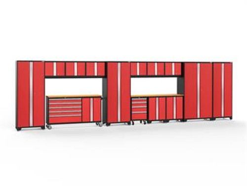 NewAge Bold 3.0 Red Series 15 PC Set w/Bamboo Worktops &amp LED Lights