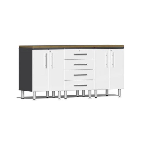 Ulti-MATE Garage 2.0 Series White Metallic 4-Piece Workstation Kit