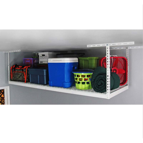 "SafeRacks 3' x 8' Overhead Storage Rack 12"" - 21"" Drop - White"
