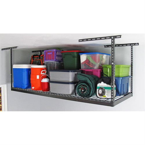 "SafeRacks 3' x 8' Overhead Storage Rack 12"" - 21"" Drop - Hammertone"