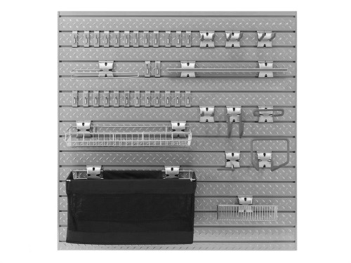 NewAge Pro Series 16 Sq. Ft. Steel Slatwall with 40-Piece Steel Slatwall Accessory Kit