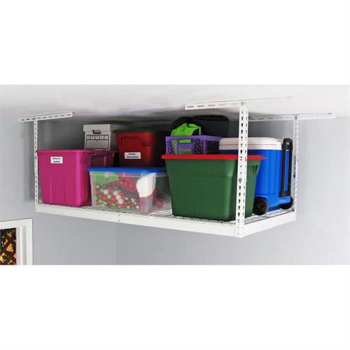 "SafeRacks 3' x 6' Overhead Storage Rack 12"" - 21"" Drop - White"