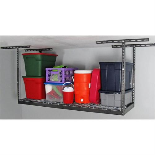 """MonsterRax 2' x 6' Overhead Storage Rack 12"""" - 21"""" Drop - Hammertone"""