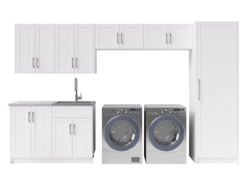 NewAge Laundry Room 10 Piece Cabinet Set with 24 in. Sink and Faucet - White