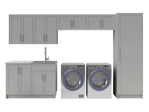 NewAge Laundry Room 10 Piece Cabinet Set with 24 in. Sink and Faucet - Gray