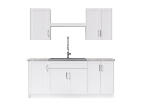 NewAge Laundry Room 10 Piece Cabinet Set with Shelf and Sink - White