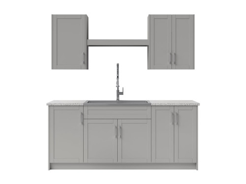 NewAge Laundry Room 10 Piece Cabinet Set with Shelf and Sink - Gray