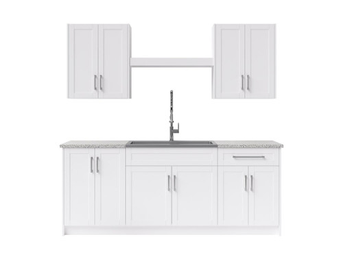NewAge Laundry Room 10 Piece Cabinet Set with Centered Shelf and Sink - White